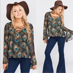 Show Me Your Mumu Zuko Lace Up Blouse Peacock Bell